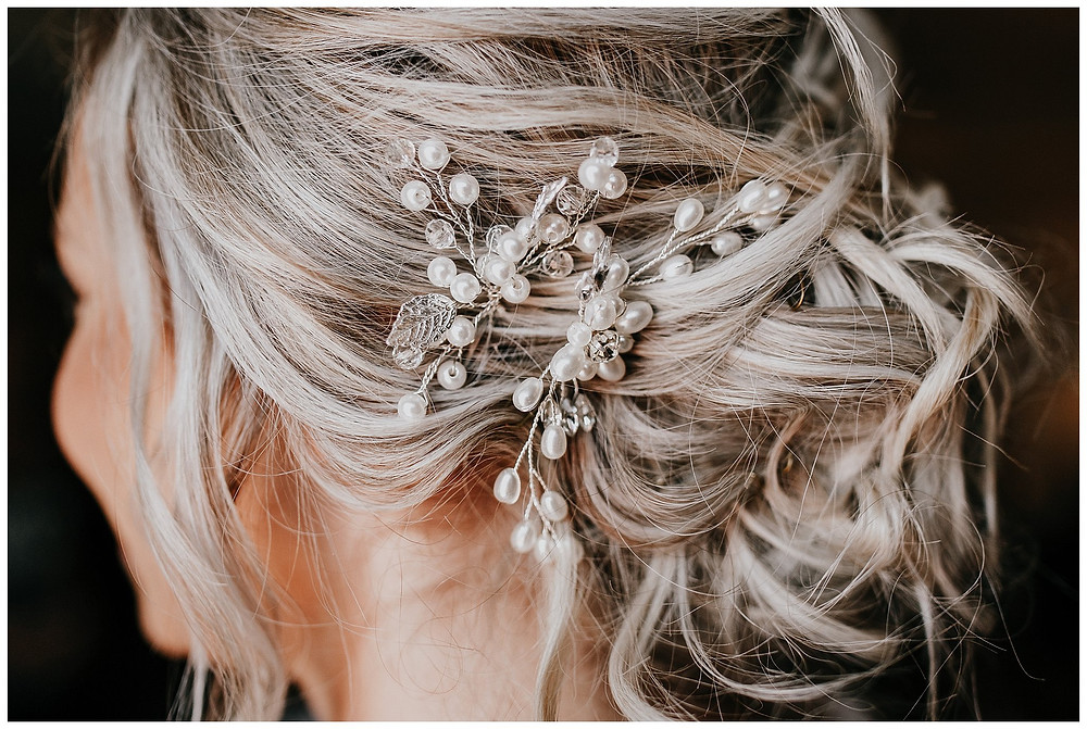 Wedding Day Hair Updo with Pearls