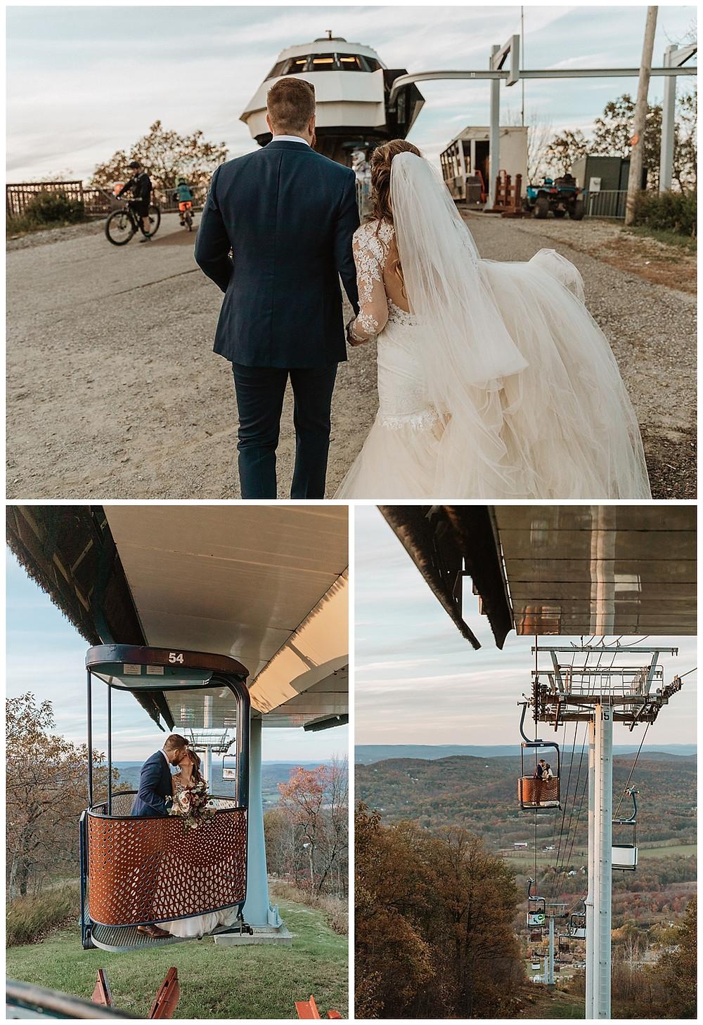 Bride and Groom Fun Gondola Exit to Reception
