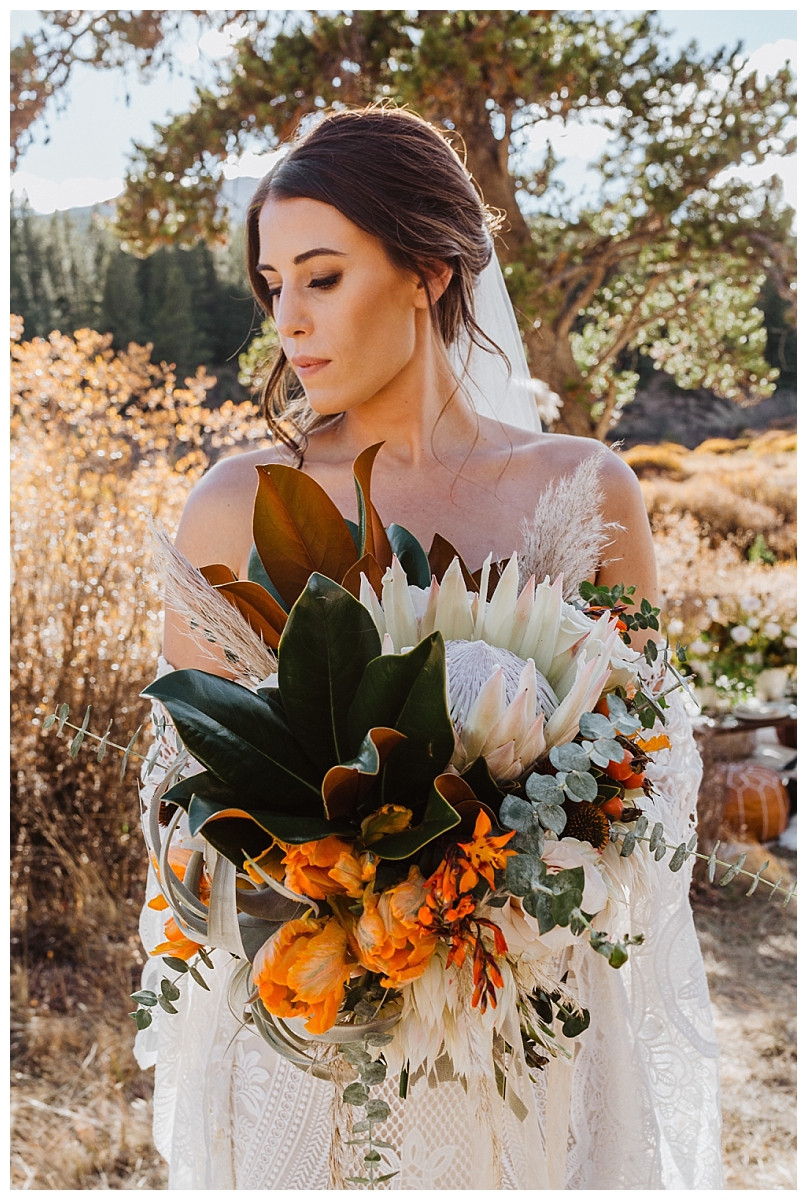 Boho Bridal Portraits with Autumn Inspired Bouquet