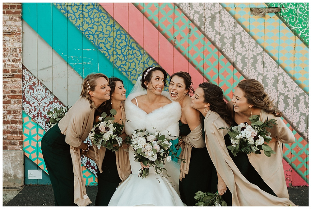 Bridal Party Portraits in front of Asbury Boardwalk Mural