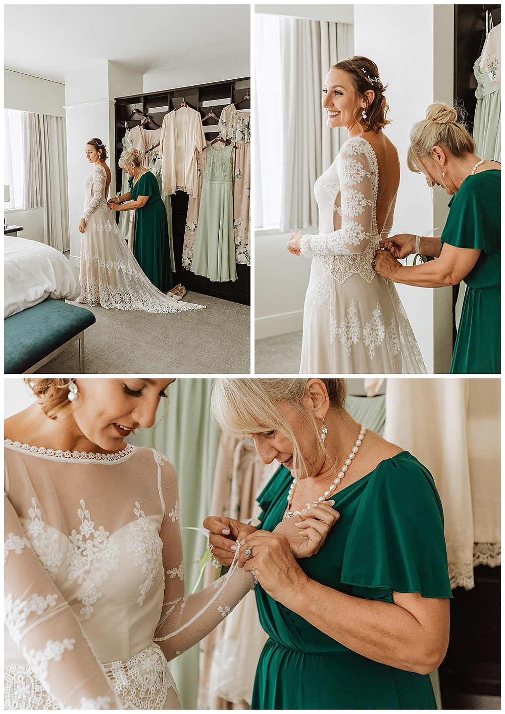 Bride Getting Ready Portraits in Dreamers and Lovers Dress