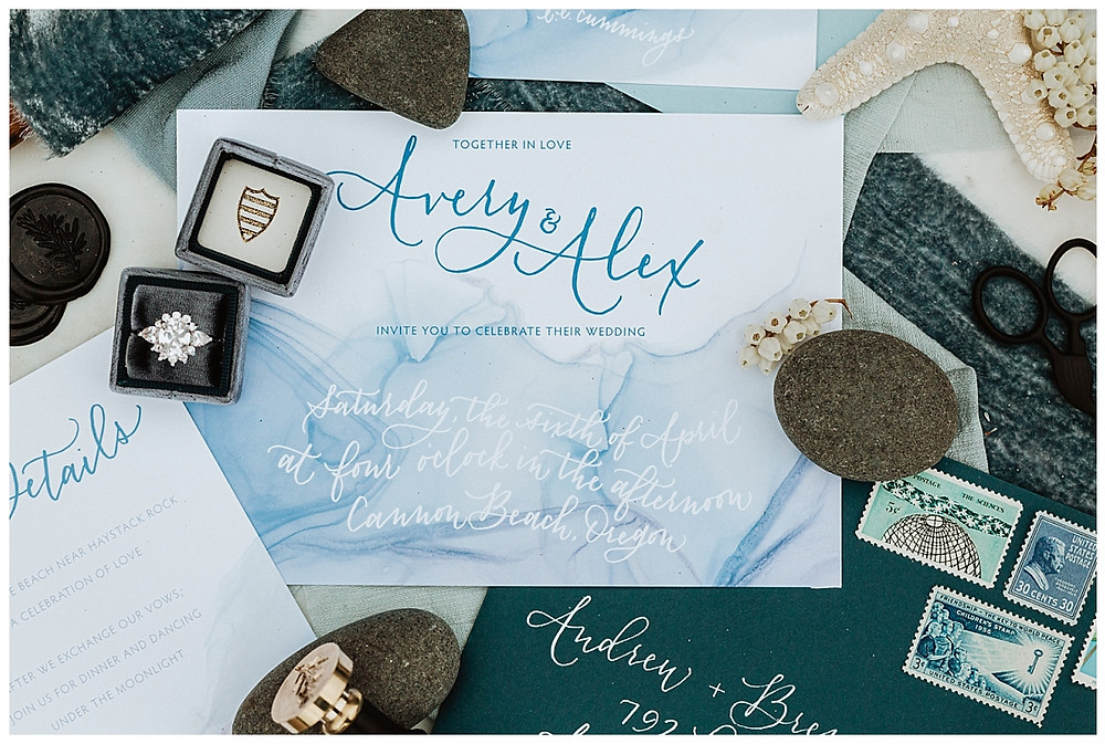 Coastal Ocean Inspired Wedding Invitations and Details