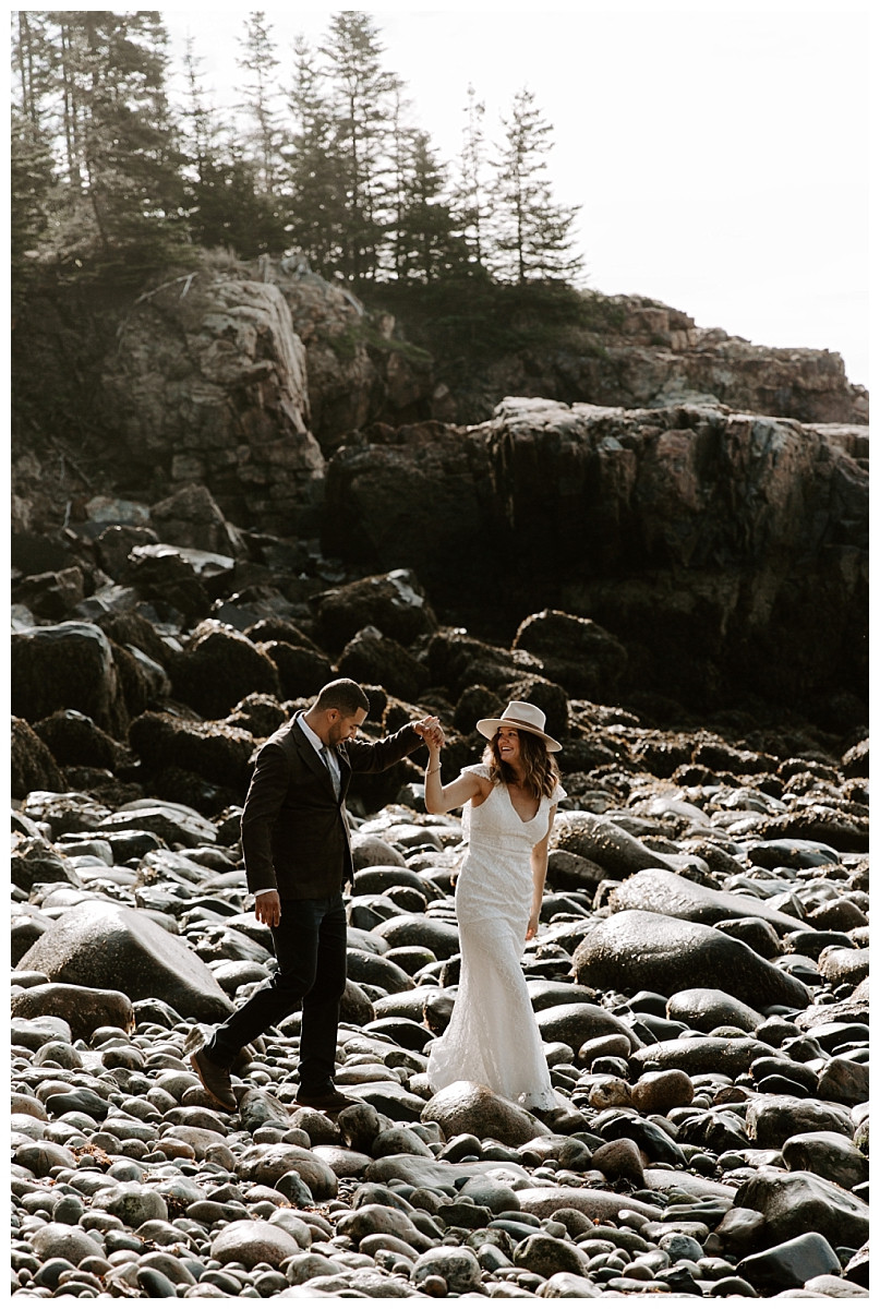 Adventure Elopement Photography at Little Hunters Beach, Acadia National Park, Maine