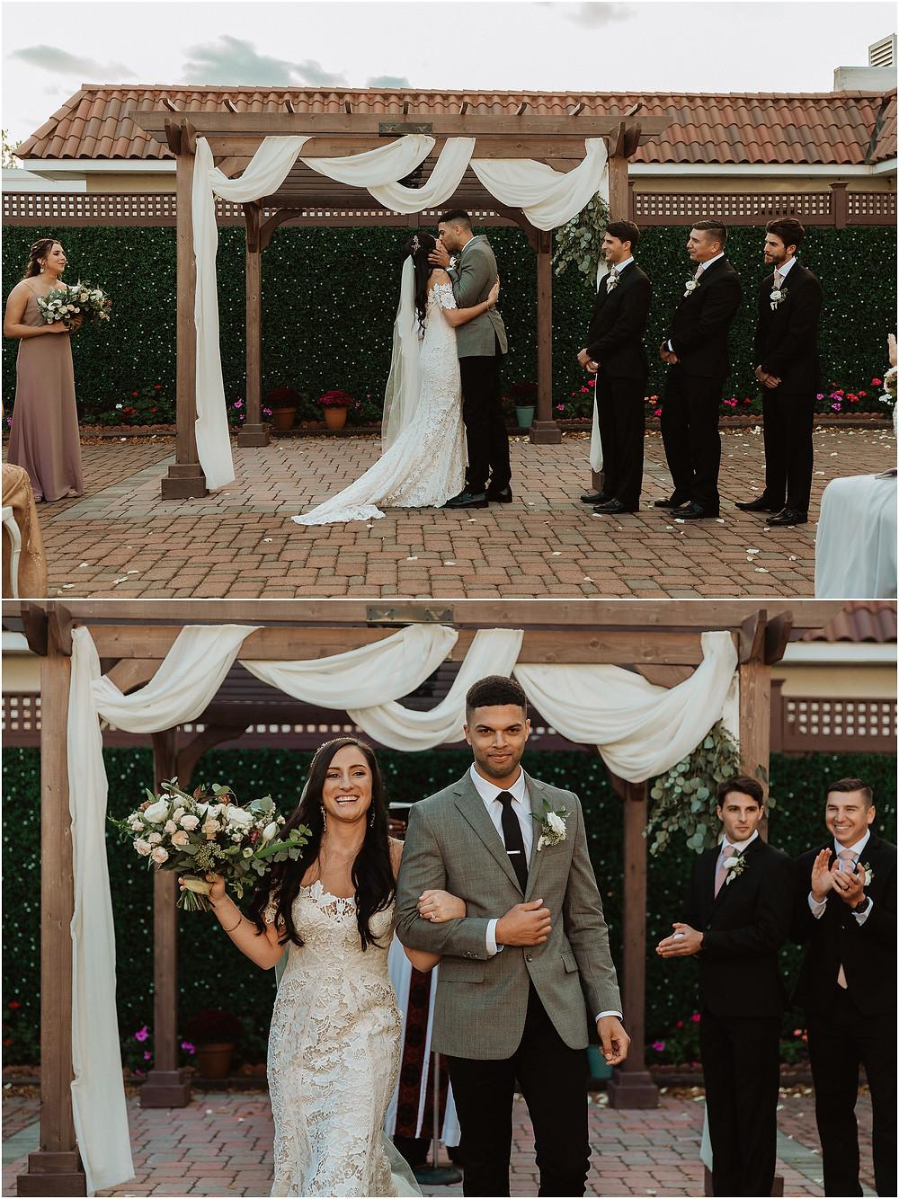 First Kiss at Perona Farms Wedding