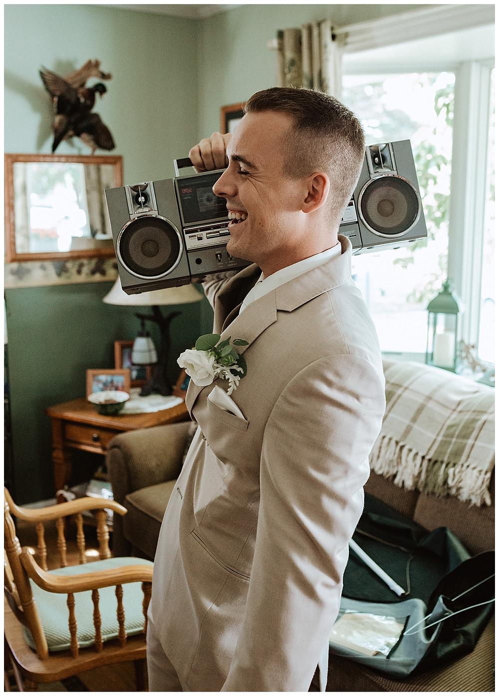 Vintage Boombox Groom Portrait