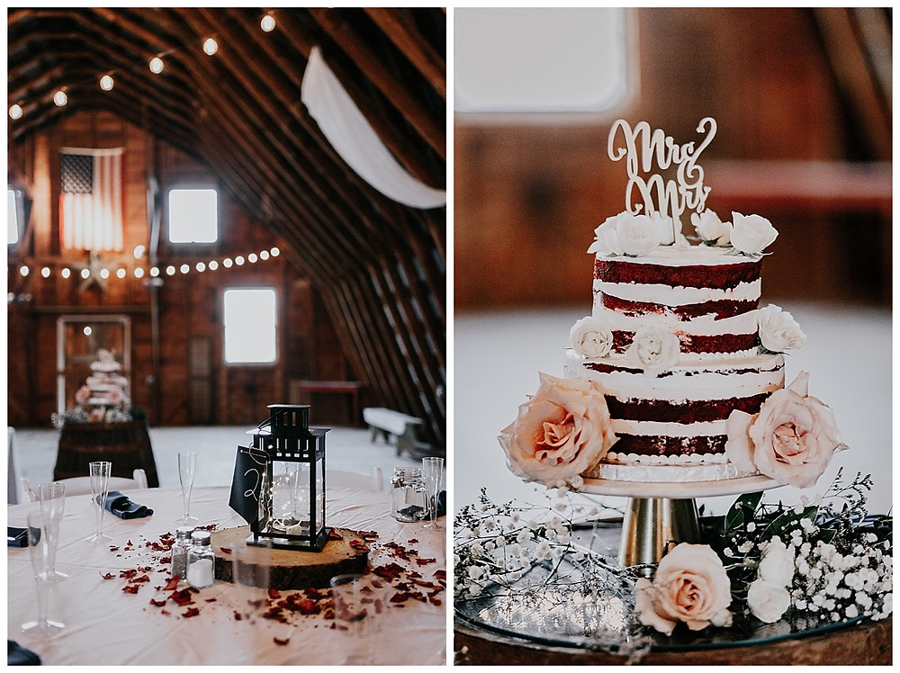 Barn Wedding Reception Rustic Decor and Red Velvet Cake
