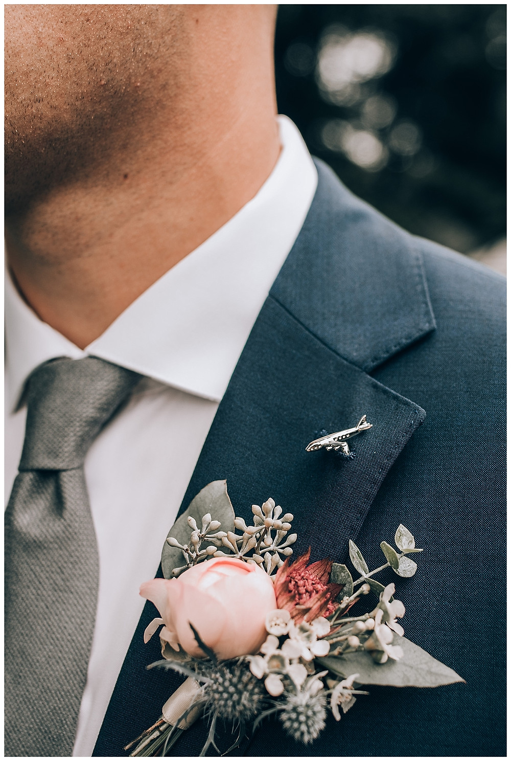 Groomsman Boutonniere and Airplane Lapel Pin