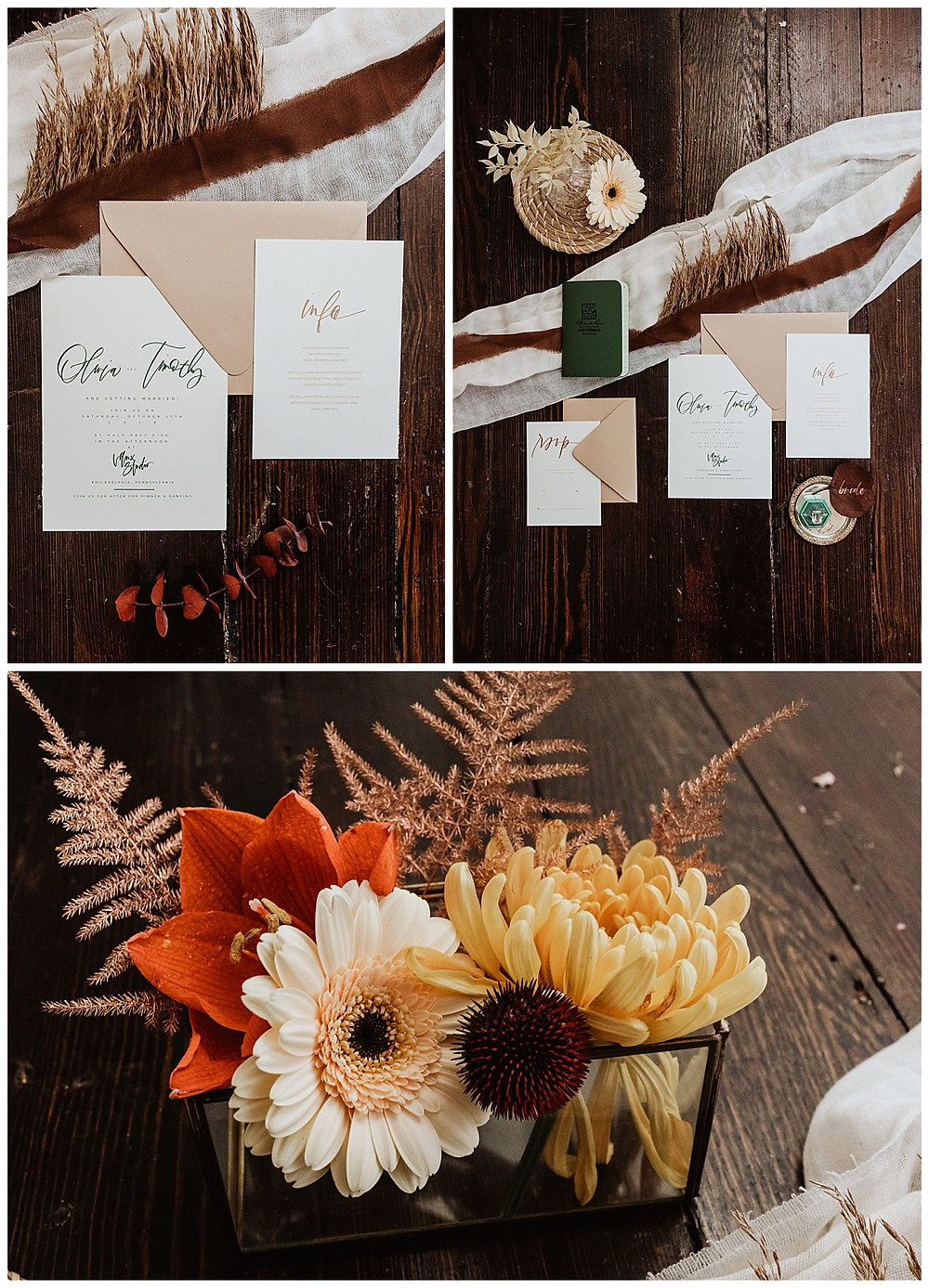 Boho Rustic Wedding Stationary Details
