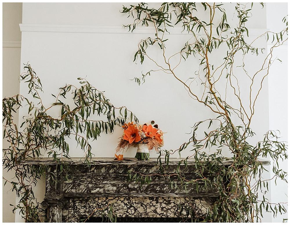 Orange Bridal Bouquet at VAUX Studios, Philadelphia PA