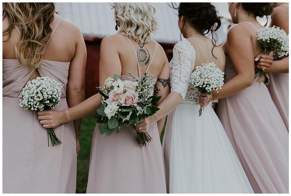 Bridal Party Portraits, Pink Dresses