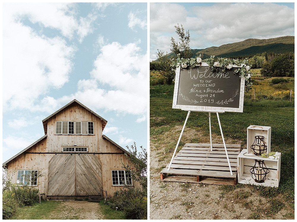 Satoyama Farm Wedding Barn in Rochester, VT, Ceremony Welcome Sign