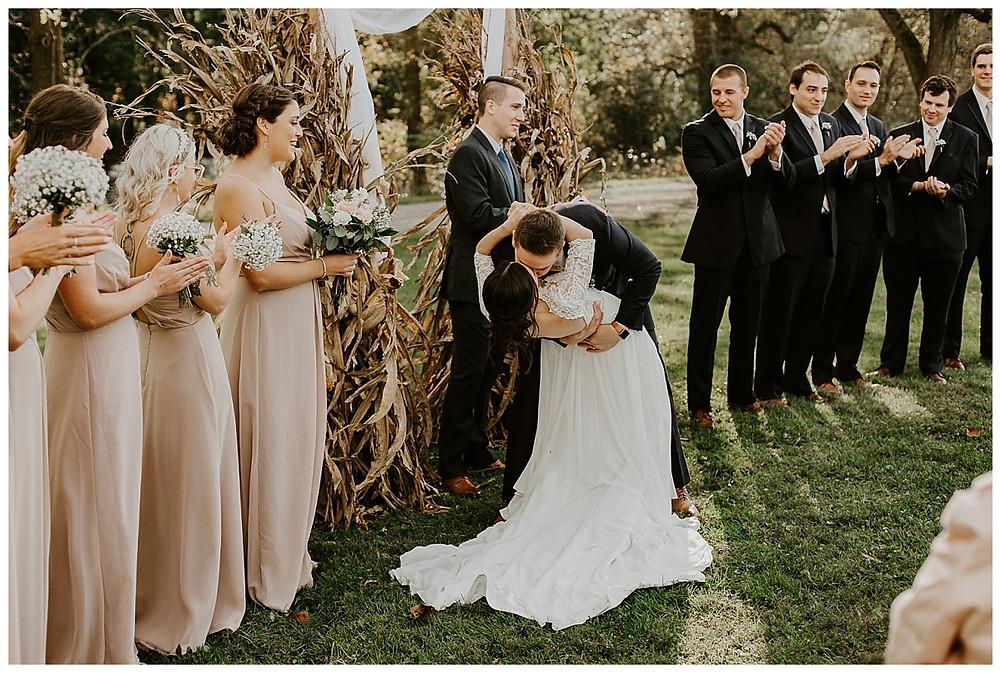 Fall Farm Wedding Ceremony First Kiss