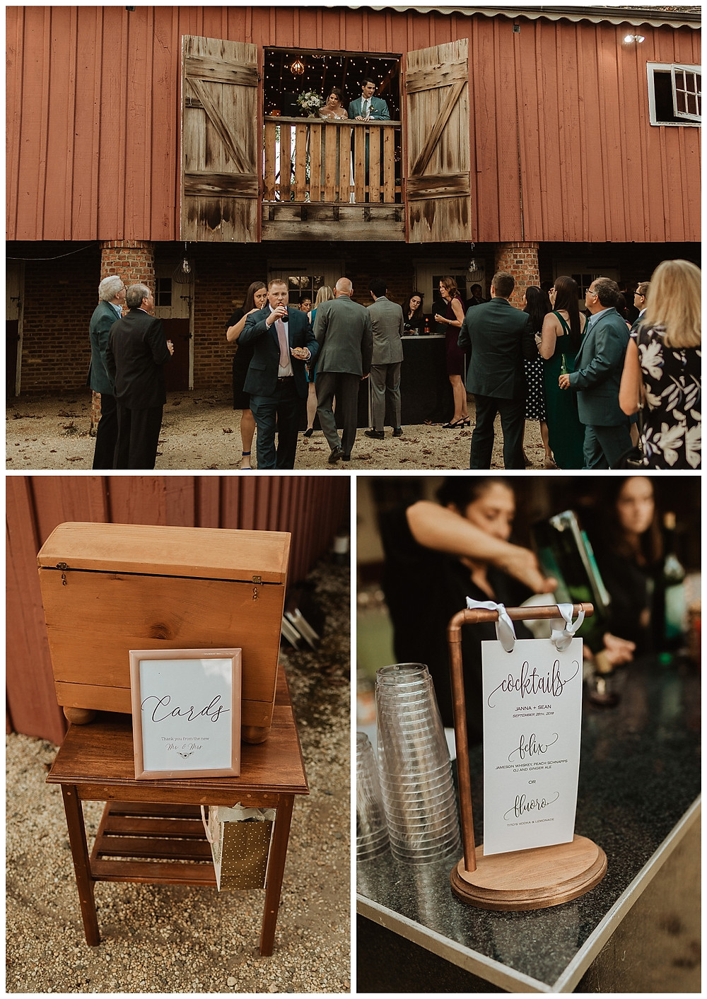 Cocktail Hour Details at Bayonet Farms NJ Wedding