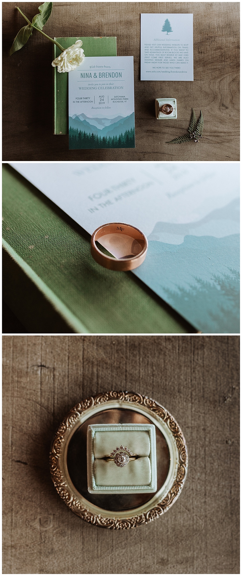 Wedding Stationary Details and Rings in Mint Velvet Ring Box