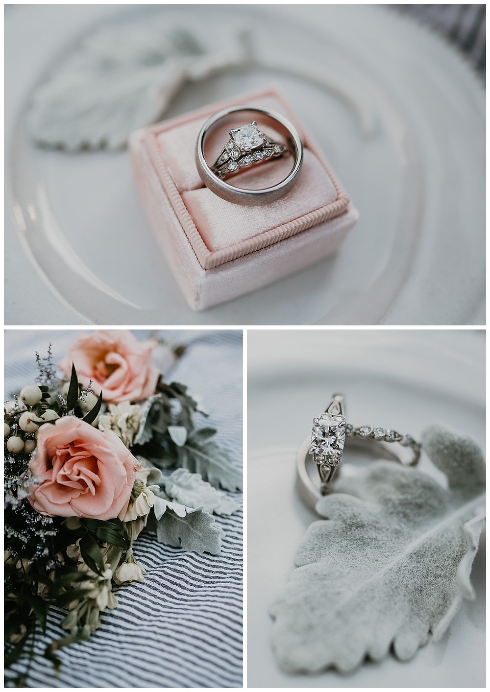 Bridal Details Wedding Ring in Pink Velvet Ring Box and Bouquet