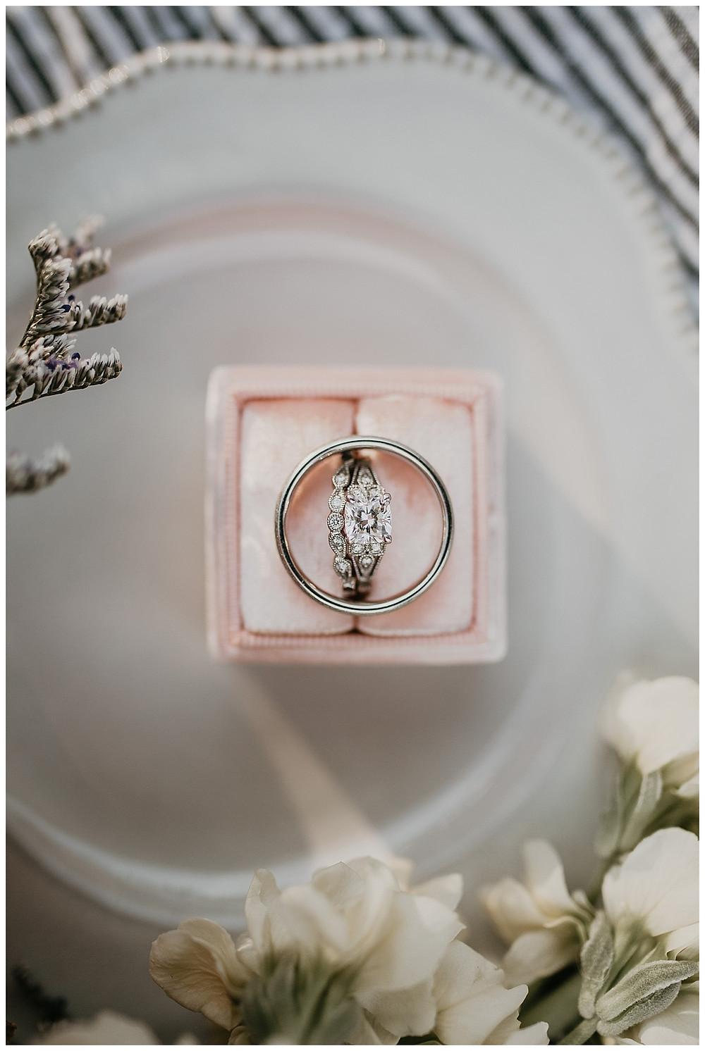 Wedding Ring in Pink Velvet Ring Box