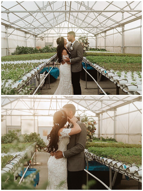 Greenhouse Bride & Groom Portraits at Perona Farms