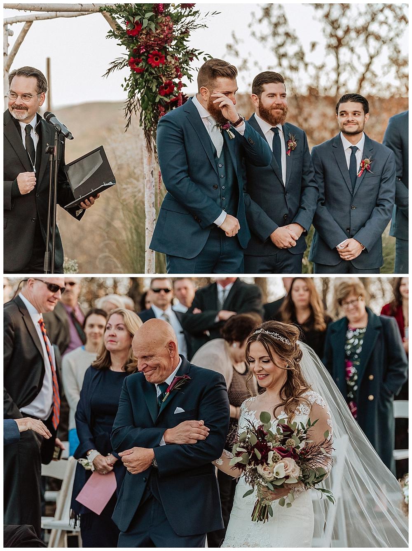 Groom Reaction Shot as Bride Walks Down Aisle