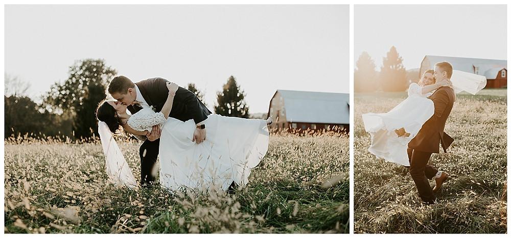 Fall Farm Meadow Sunset Bride & Groom Portraits
