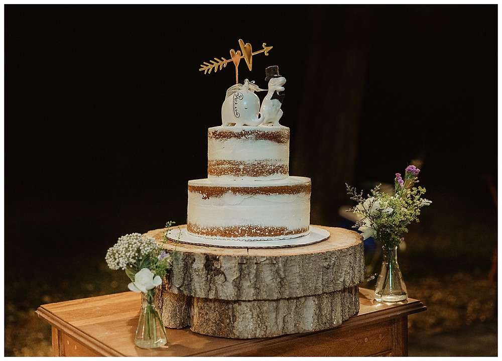 Naked Wedding Cake with Fun Toppers
