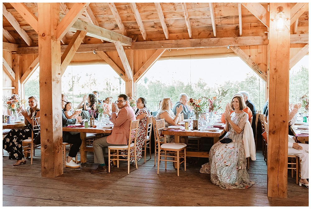 Barn Wedding Reception with Guests