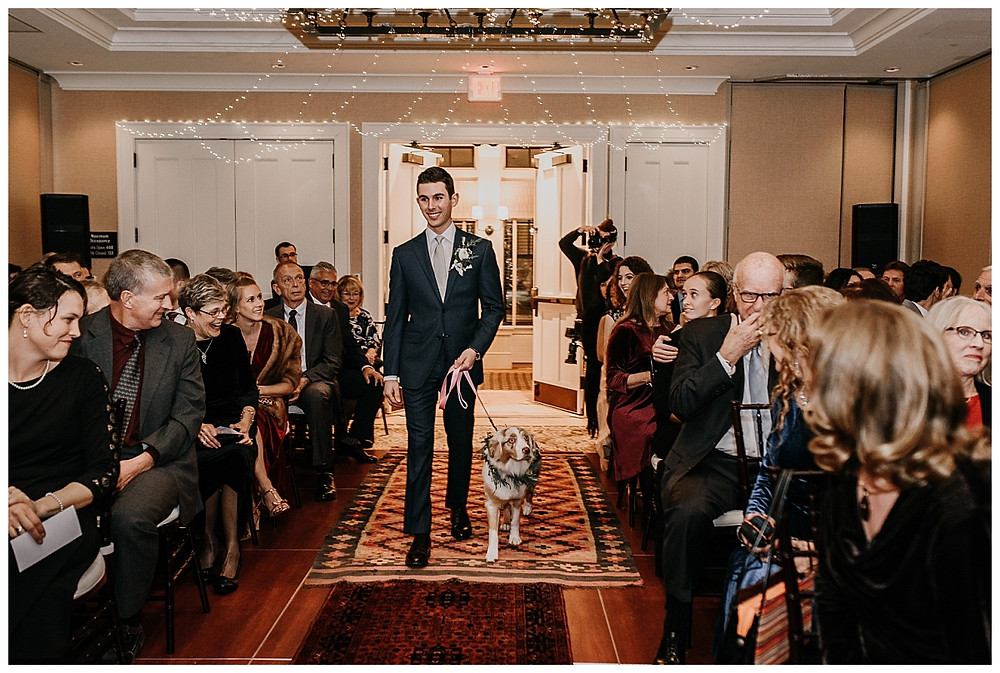 Groom Coming Down the Aisle with Aussie Pup