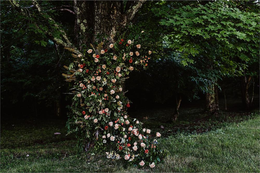 Moon Shaped Floral Arrangement Wedding Ceremony