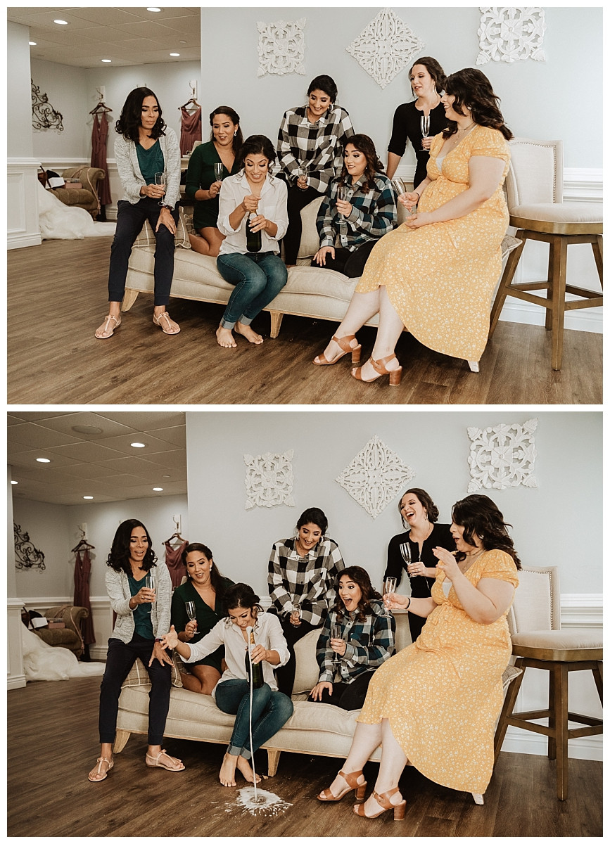 bride and bridesmaid popping champagne