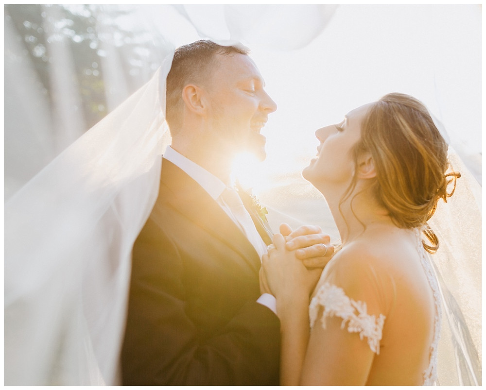 Bride & Groom Sunset Veil Portraits