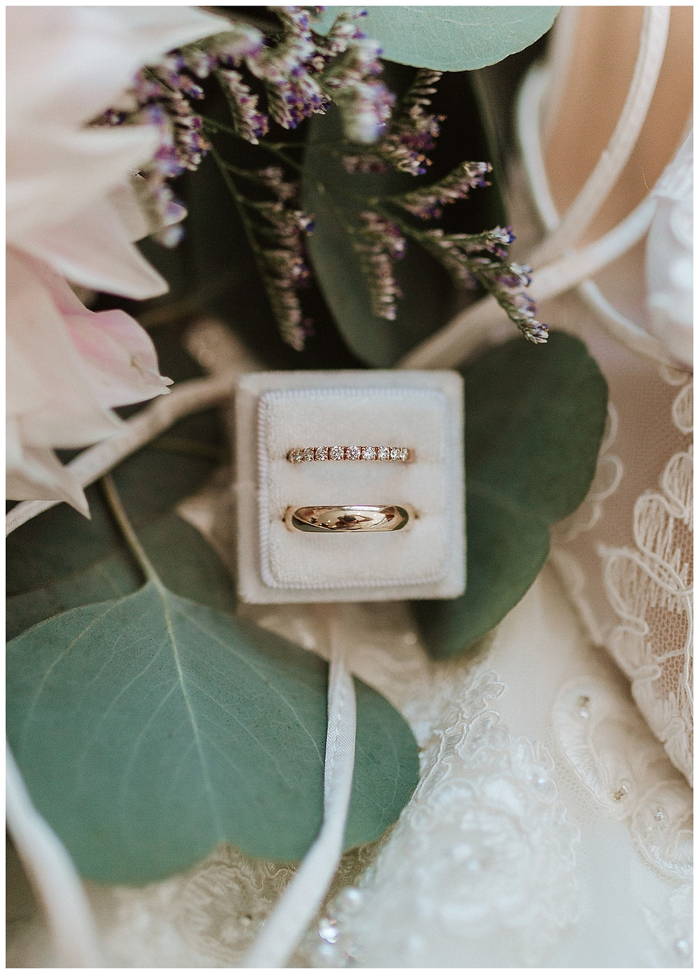 Wedding Ring in White Velvet Ring Box