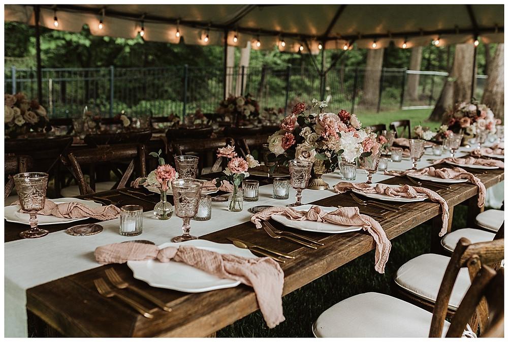 Backyard Micro Wedding Tented Reception, Sara Fitz Co