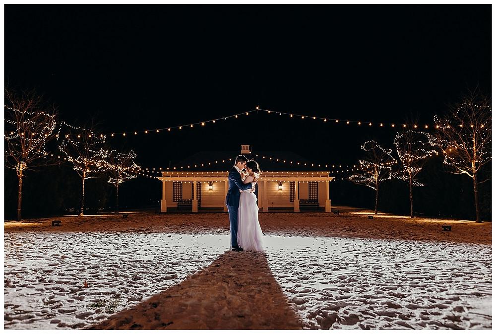 Snowy Night Time String Lit Bride & Groom Portraits