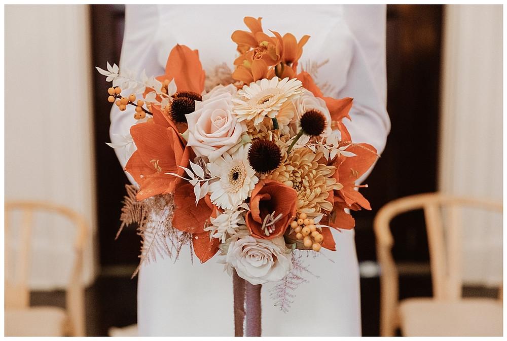 Orange and Rose Bridal Bouquet