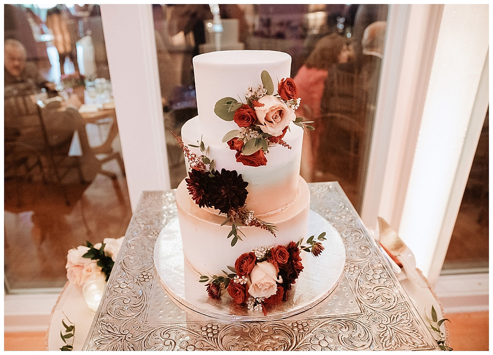 Ombre Gold, Green, and White Wedding Cake with Roses