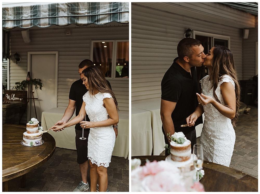 Cake Cutting at Backyard Micro Wedding, Sara Fitz Co