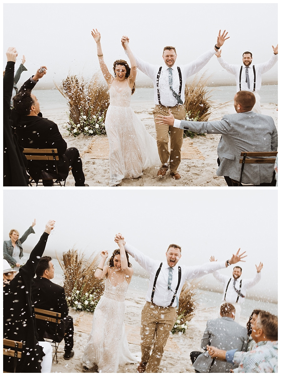 Bride & Groom Confetti Toss Exit From Ceremony