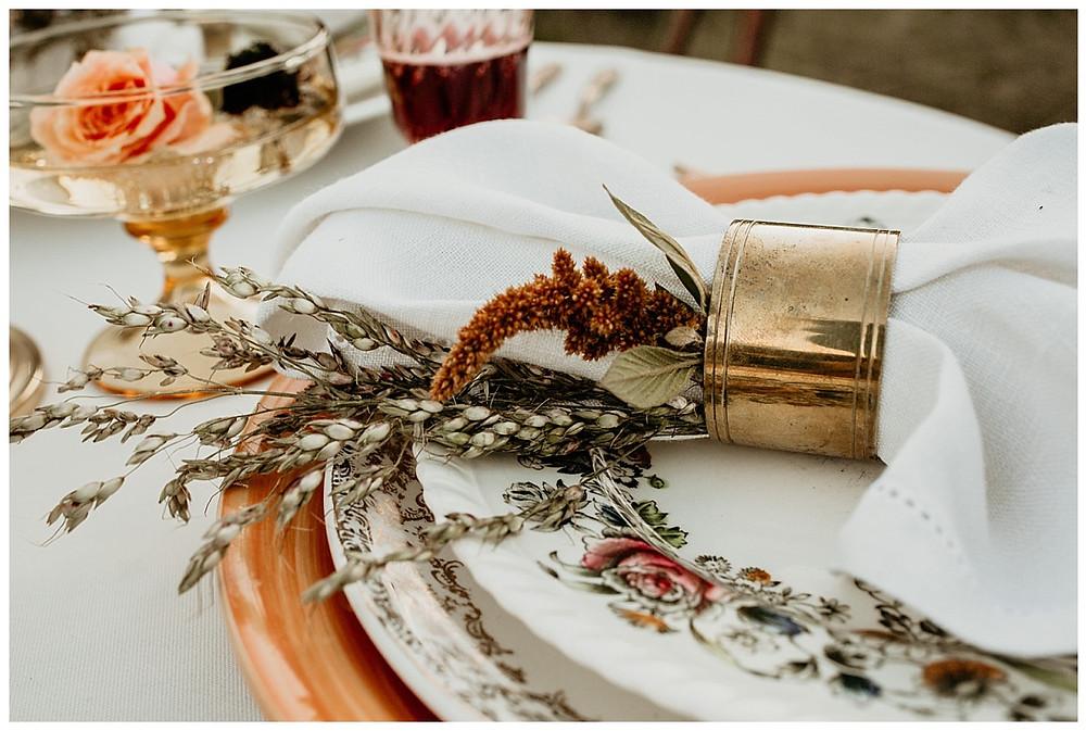 Vintage Boho Gold Table Setting