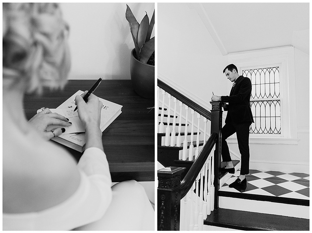 Bride and Groom Writing Vows