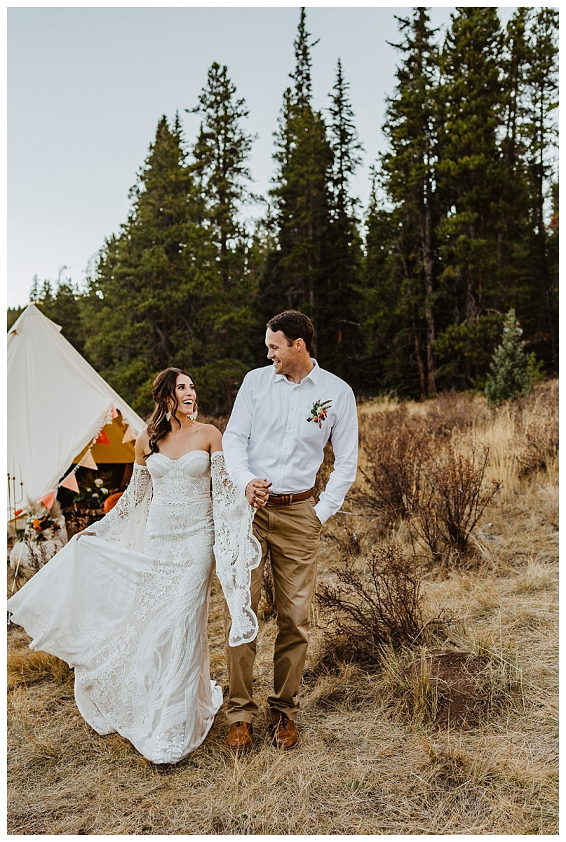 Boho Glamping Rocky Mountain Elopement Bride & Groom Portraits