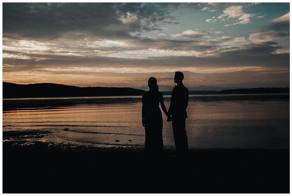 Lakeside Nighttime Bride & Groom Portrait