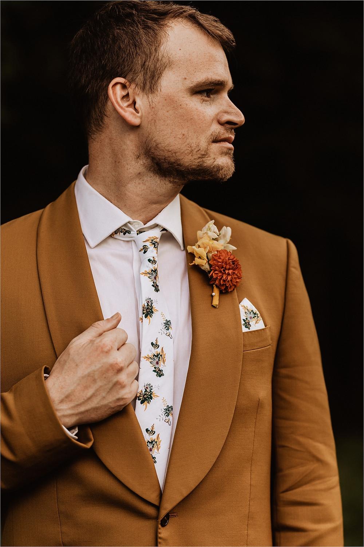 Boho Groom Style, Groom Portraits, Orange Boutonniere