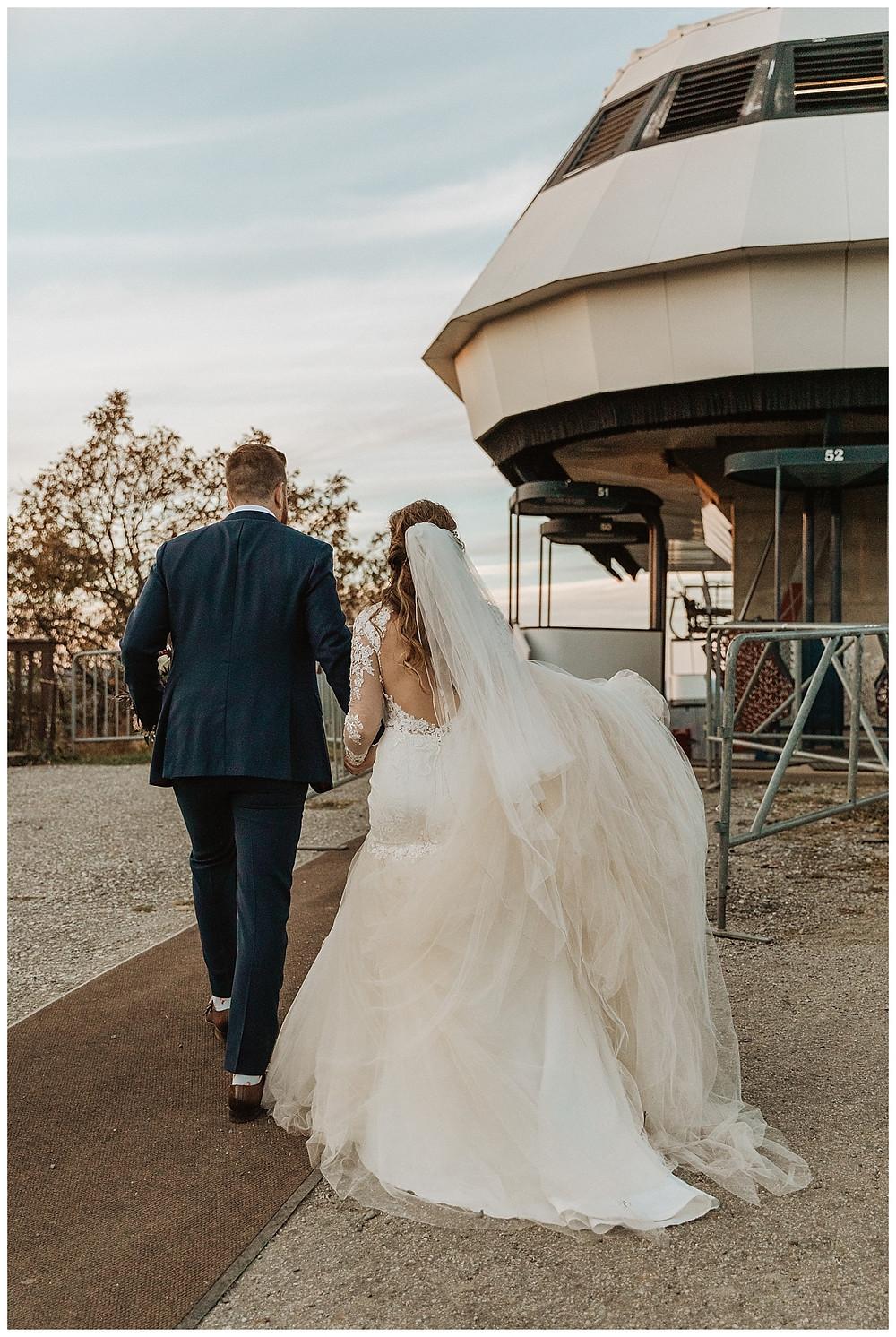 Bride and Groom Walking to Gondolas