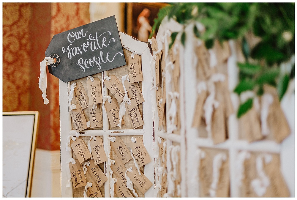 Room Divider Vintage Gift Tag Seating Chart