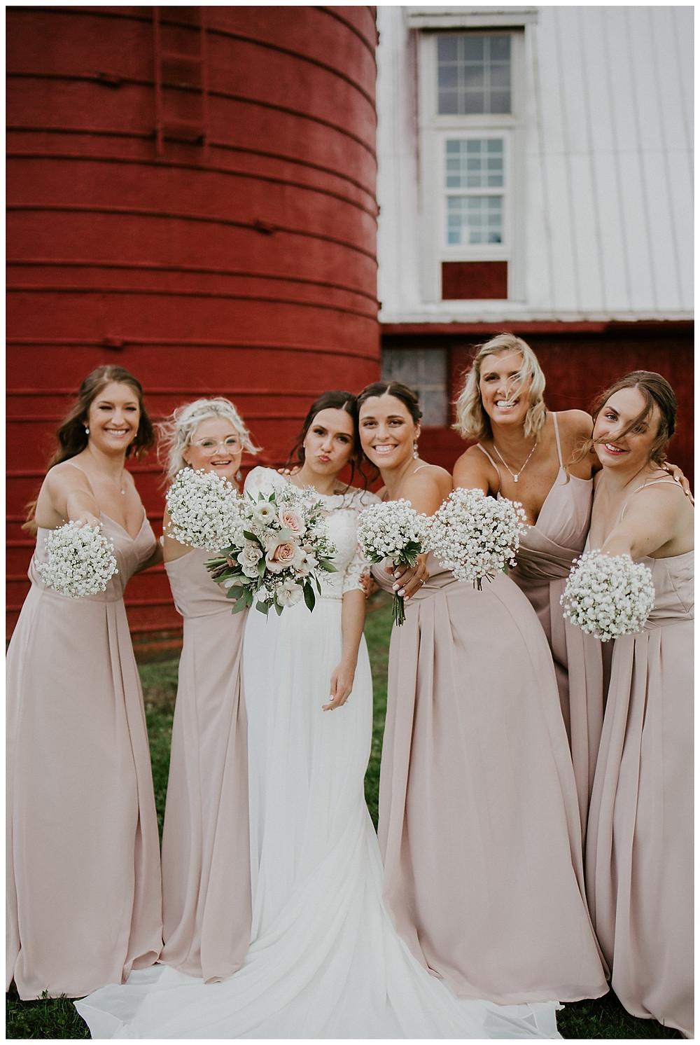 Bridal Party Portraits at Farm