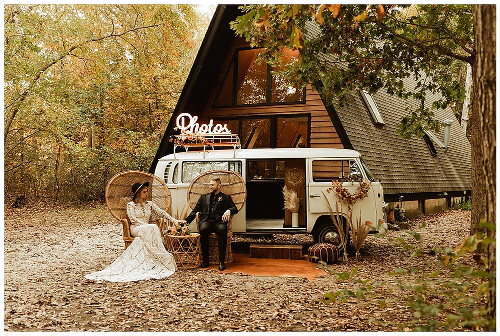 Bride & Groom Portraits with VW Booth Bus
