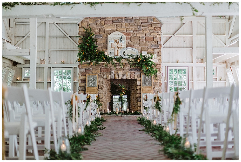 Ashford Estate Barn Chapel Wedding Ceremony Decor & Greenery