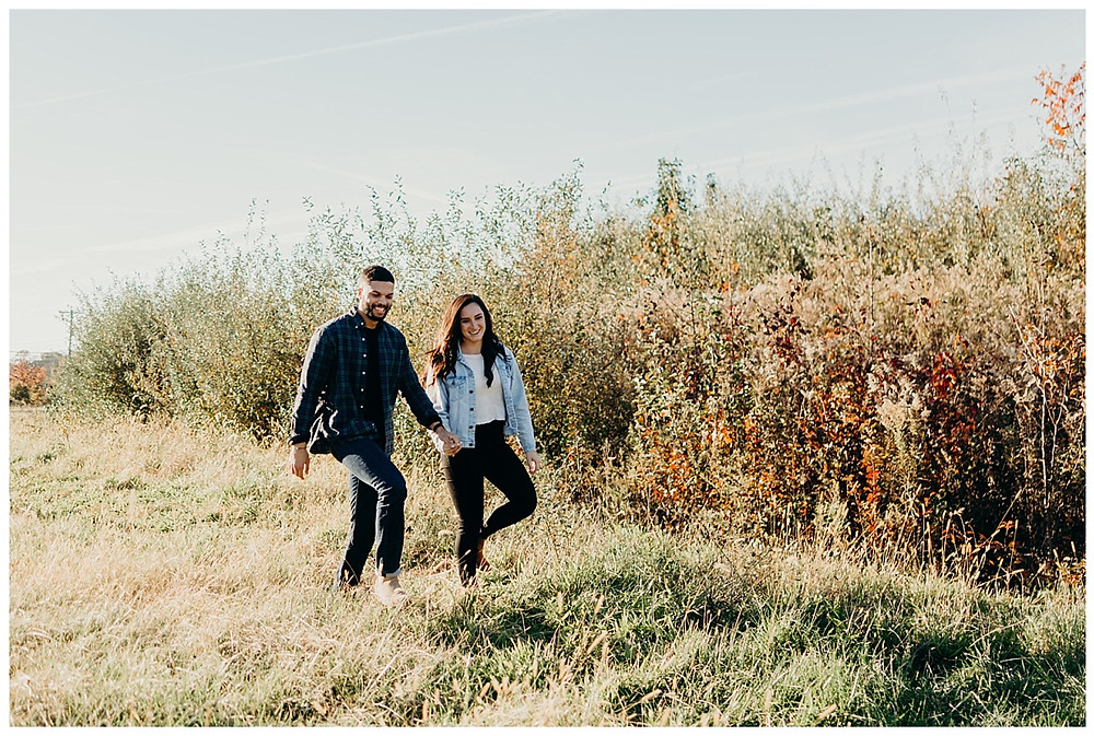 Autumn Sunset Meadow Engagement Session