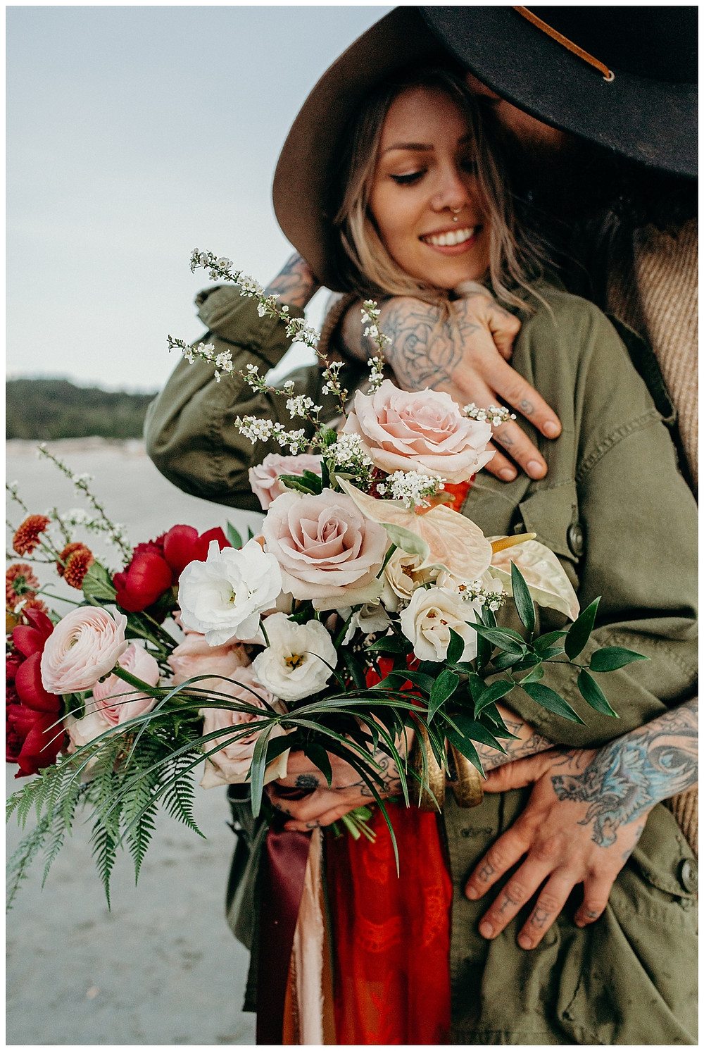 Beach Engagement Photos in British Columbia with Bouquet