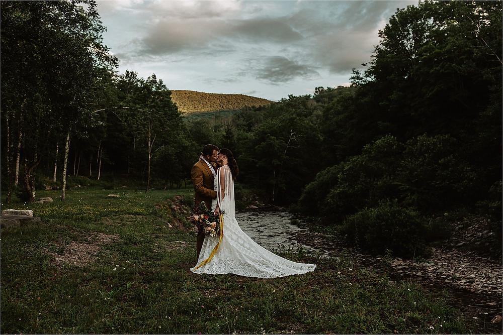 Moody Boho NY Catskills Elopement Photos