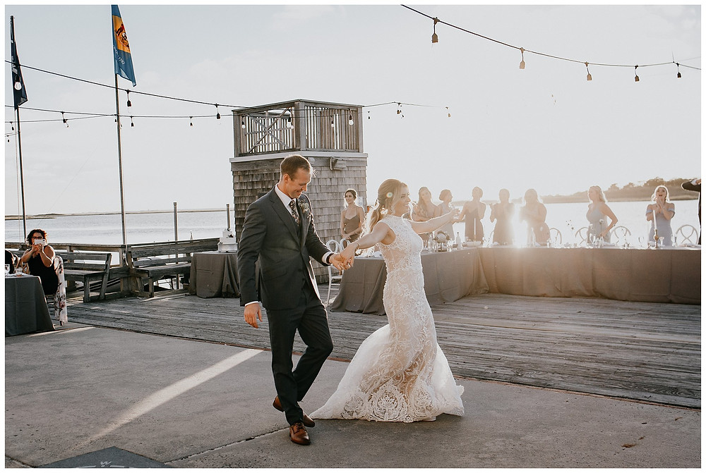 Vintage Boat Wedding Bride and Groom Intros at Little Egg Harbor Yacht Club, Beach Haven NJ